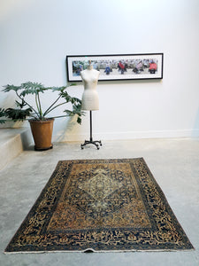 Parastu, Antique Persian Bibikabad circa 1900s, 4'3 x 6'4