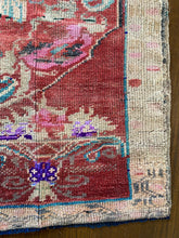 Load image into Gallery viewer, Kus, vintage Turkish rug with a bird! 3'2 x 4'3