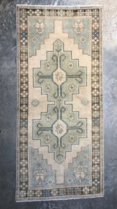 Deniz, vintage Turkish runner, 3'5 x 7'9