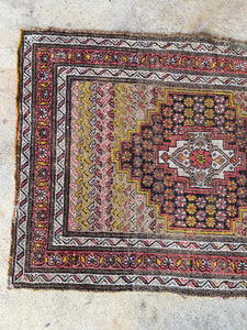 Alp, vintage Persian Malayer scatter rug, 2'7 x 3'8