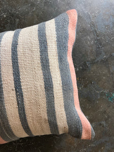 "Pillow, vintage kilim 16 x 16"", striped neutral"