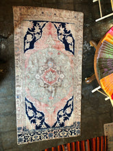 Load image into Gallery viewer, Karina, vintage Turkish oushak with indigo and blush