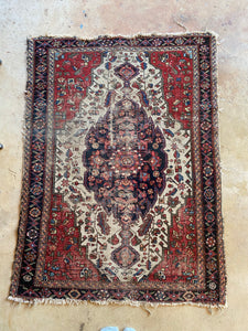 Baris, vintage Persian scatter rug, 3'4 x 4'7