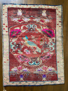 Kus, vintage Turkish rug with a bird! 3'2 x 4'3