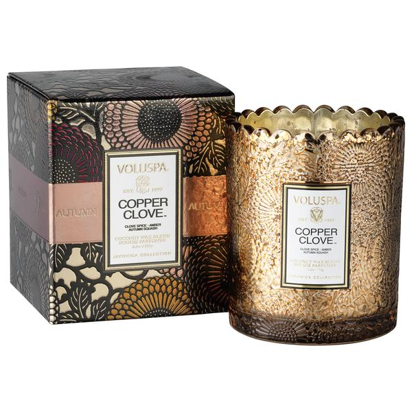Copper Clove Boxed Scallop Candle
