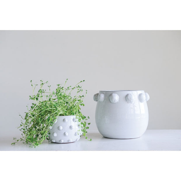 White Terra-cotta Planter with Raised Dots