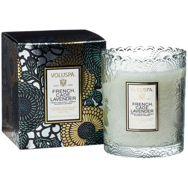 French Cade Lavender Boxed Scallop Candle