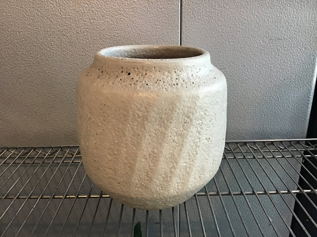 Gray Ridged Cement Planter 6""