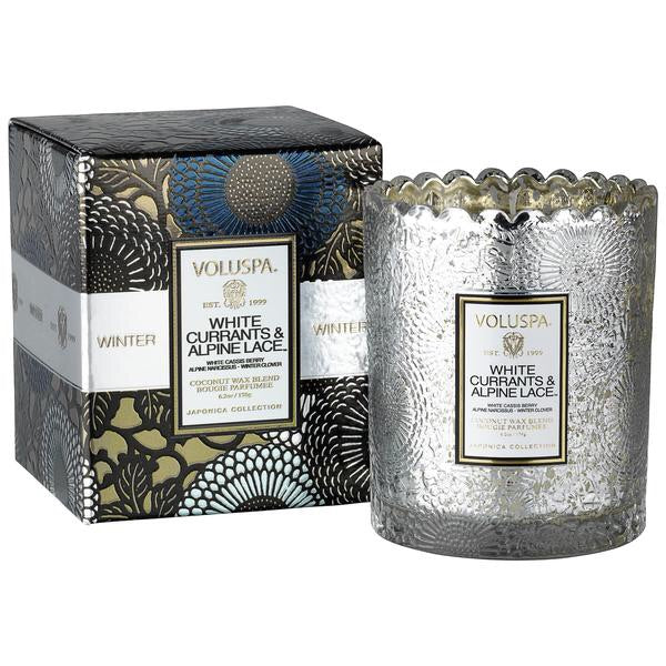 White Currants and Alpine Lace Boxed Scallop Candle