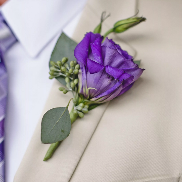 Purple Lisianthus City Hall Boutonniere