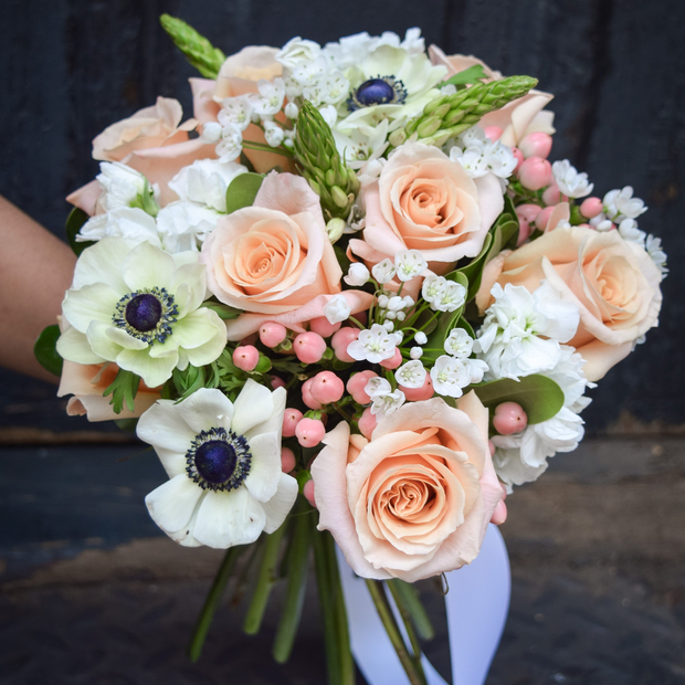 Peach and Classic White City Hall Bridal Bouquet