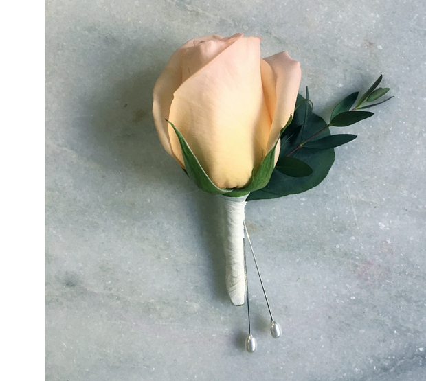 Peach Rose City Hall Boutonniere