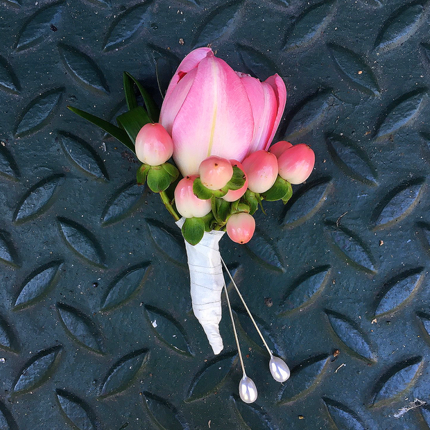 Pink Tulip City Hall Boutonniere