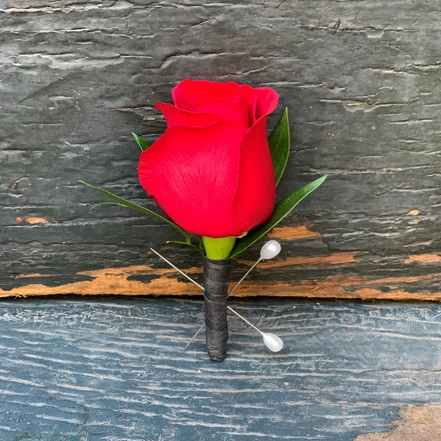 Classic Red Rose City Hall Boutonniere