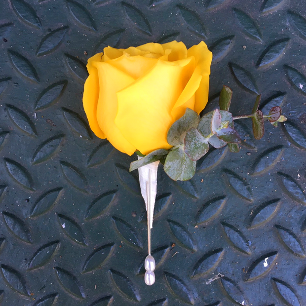 Yellow Rose City Hall Boutonniere