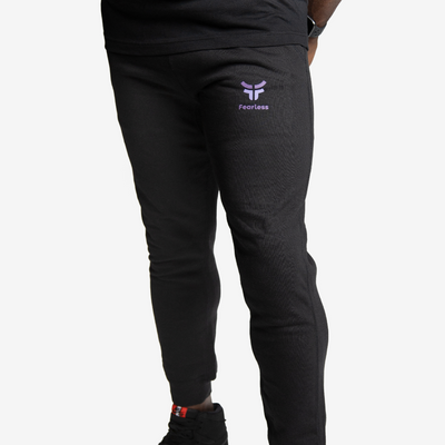 men's black joggers with purple fearless logo