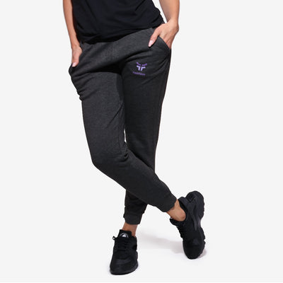 woman wearing charcoal grey unisex joggers