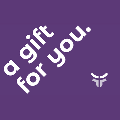 purple gift card image with fearless logo