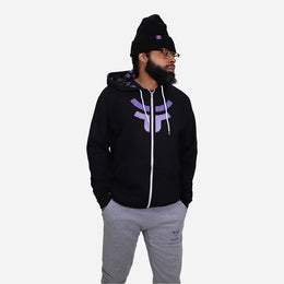 Men's Black Cozy Logo Zip Hoodie