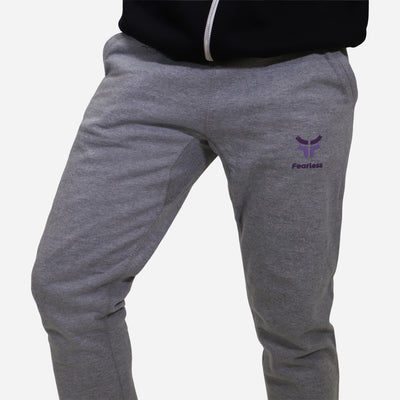 grey fearless joggers