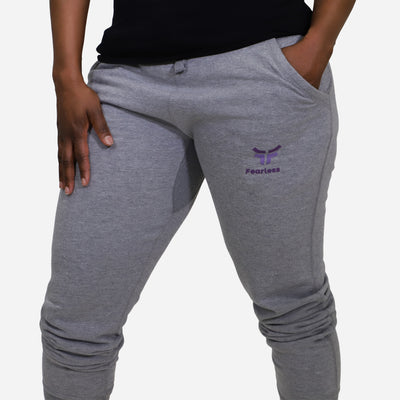 woman wearing grey unisex fearless joggers