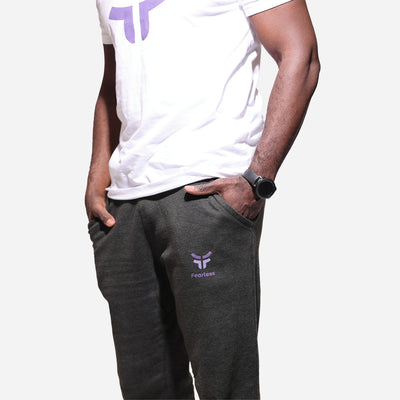 charcoal fearless joggers with white fearless tshirt