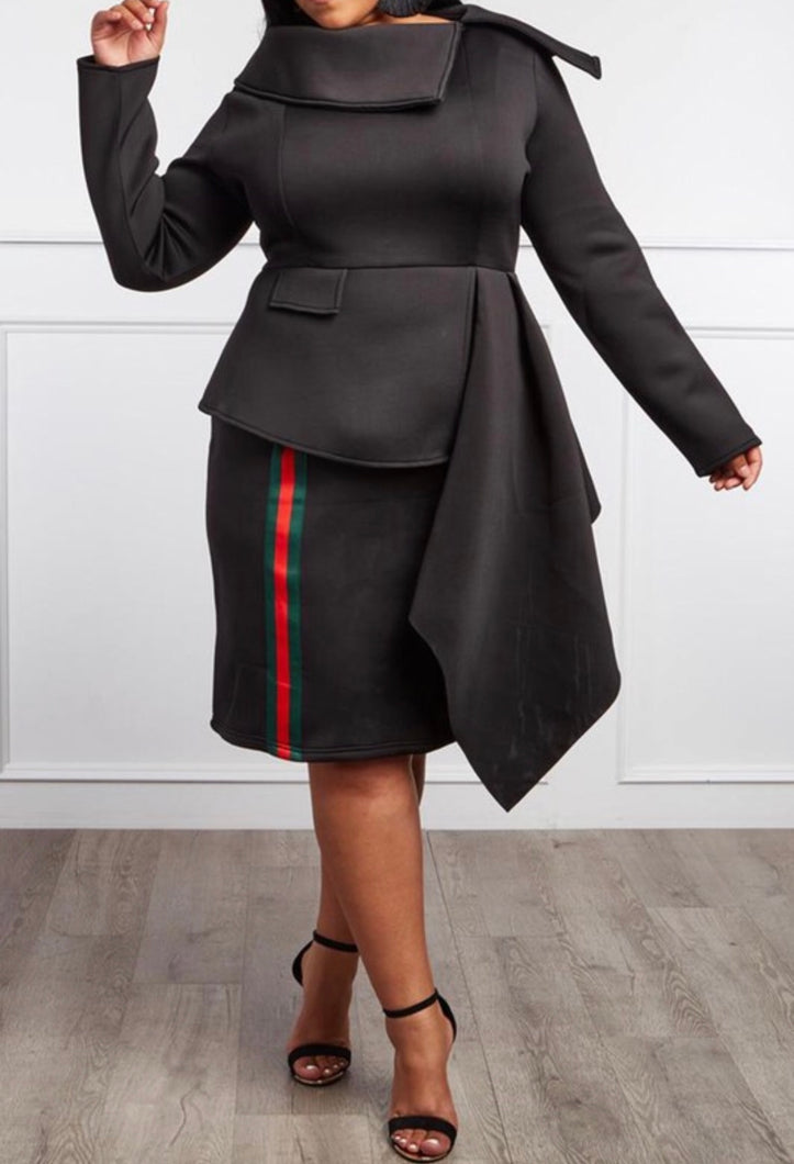 Black striped dress Plus Size