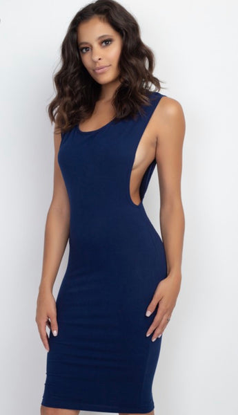 DEEP CUT SIDE DRESS