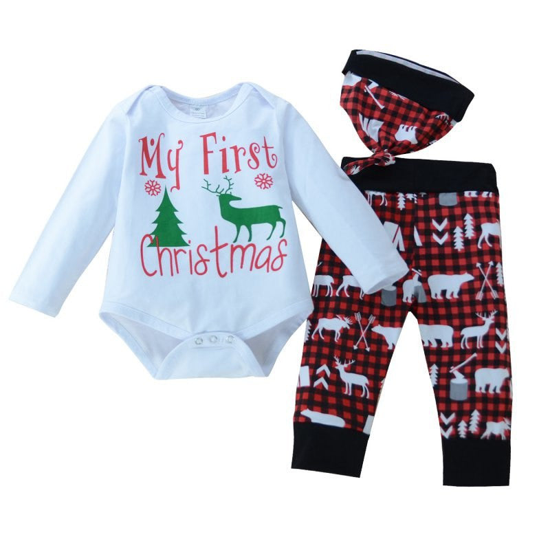 Newborn Baby Boy Girl Christmas Clothes Snowflake Deer Romper Pants Hat  Outfits Set FREE SHIPPING c36170e84c1