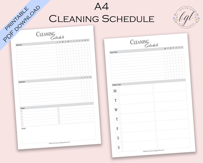 Printable - UNDATED - Cleaning Schedule - A4