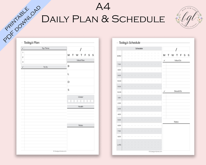 Printable - UNDATED - Daily Planner and Schedule - A4