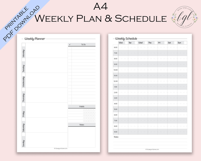 Printable - UNDATED - Weekly Planner and Schedule - A4