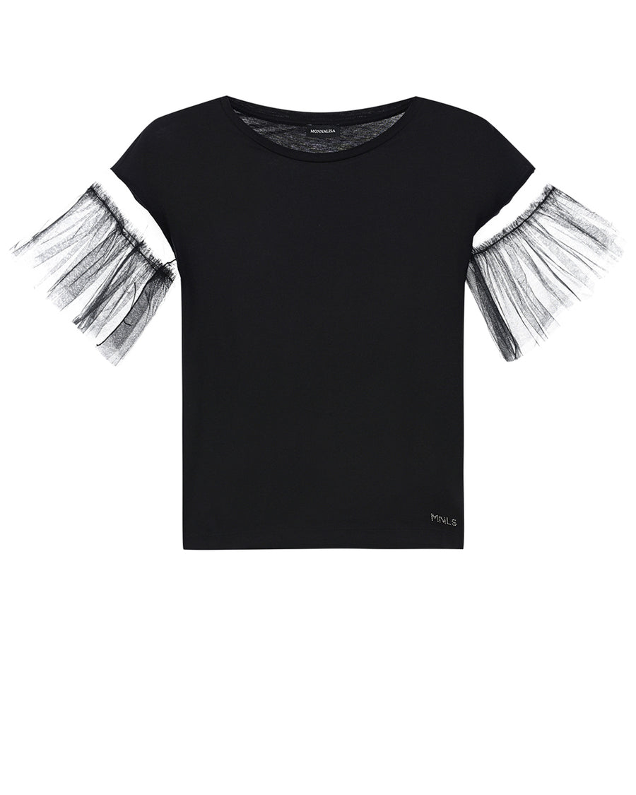 T-SHIRT MANICA TULLE