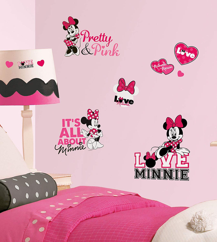 ROOM MATE MINNIE LOVES PINK WALL DECALS PEEL & STICK