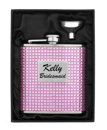 MIP Engraved 6oz PINK CRYSTAL BLING Stainless Steel Hip Flask & Funnel Personalized