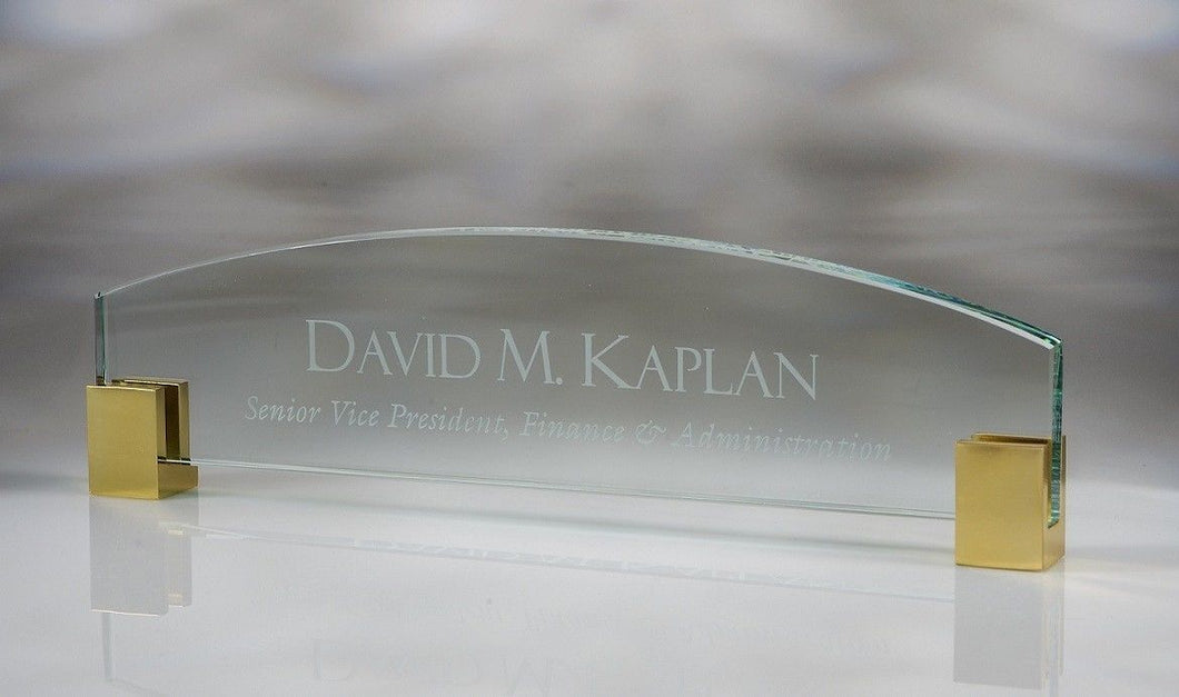 MIP Personalized Customized Engraved Executive Glass Nameplate with Brass Corners