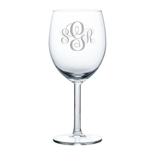 MIP Personalized Engraved Wine Glass Glasses Wedding Bridesmaid Fancy Monogram
