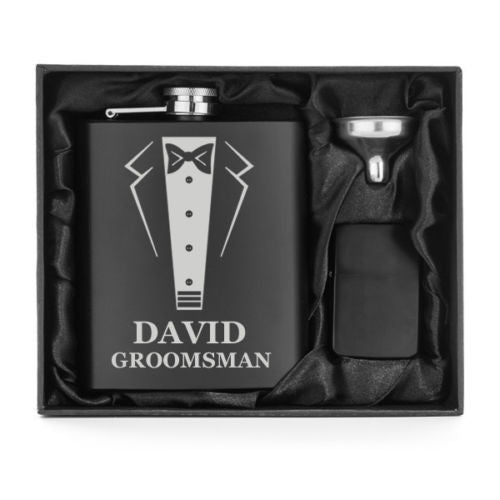 MIP Engraved 7oz Flask Funnel & Lighter MATTE BLACK PERSONALIZED WEDDING TUXEDO