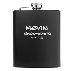 MIP Engraved 7oz Matte Black Stainless Steel Hip Flask PERSONALIZED ADD TEXT IMAGES
