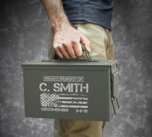 MIP Personalized .50 Cal Ammo Box Can Groomsmen Gift Box Wedding Father Dad Gift