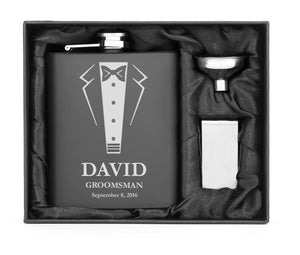 Engraved MATTE BLACK 7oz Stainless Steel HIP FLASK PERSONALIZED WEDDING TUXEDO