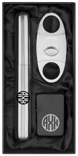 MIP Personalized Custom Engraved Cigar Flask Tube Lighter & Cutter Circle Monogram