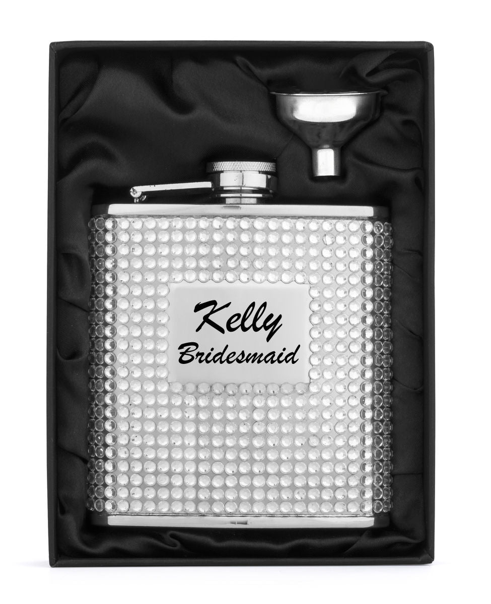MIP Engraved Silver CRYSTAL BLING Stainless Steel Hip Flask & Funnel Personalized