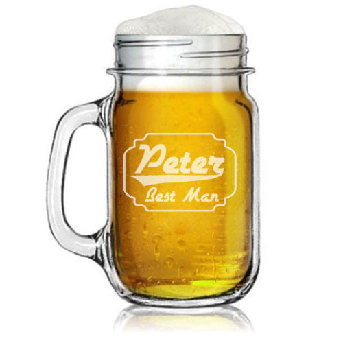 MIP Custom Engraved Personalized Mason Jar Mug w/ Handle Retro Wedding Party