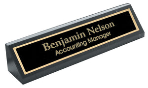 MIP Personalized Black MARBLE NAME PLATE BAR w/ gold trim office desk