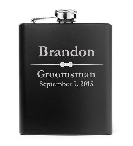 MIP Engraved 7oz Matte Black Stainless Steel Hip Flask PERSONALIZED Wedding Bow Tie