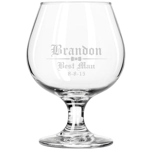 MIP Personalized Engraved Brandy Glass Snifter Wedding Groomsman Best Man Gift