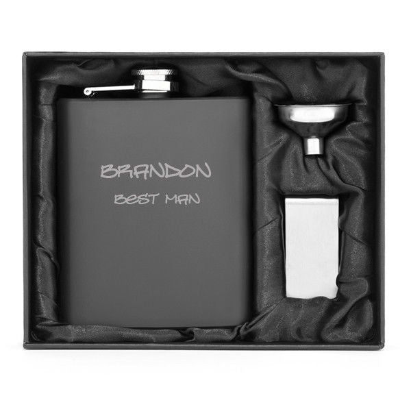 MIP Engraved 7oz Stainless Steel Flask Funnel & Money Clip MATTE BLACK PERSONALIZED