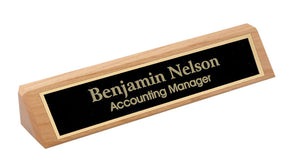 MIP Personalized Alder Wood NAME PLATE BAR w/ gold trim office desk