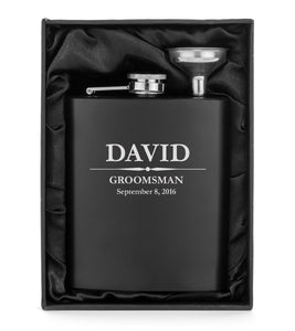 MIP Custom Engraved Flask Matte Black Funnel Gift Box PERSONALIZED Groomsman Gift